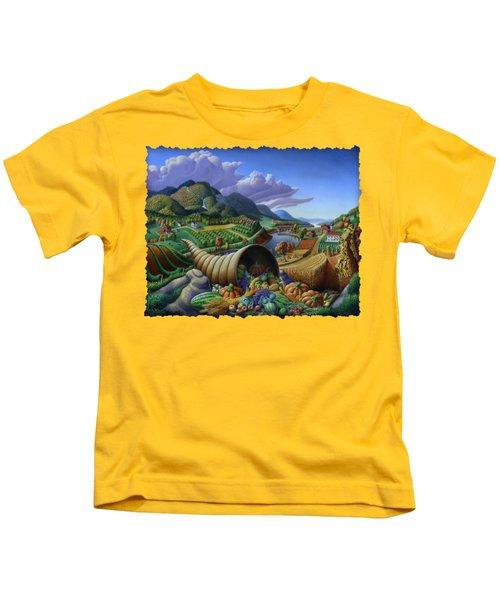 Horn Of Plenty - Cornucopia - Autumn Thanksgiving Harvest Landscape Oil Painting - Food Abundance Kids T-Shirt by Walt Curlee