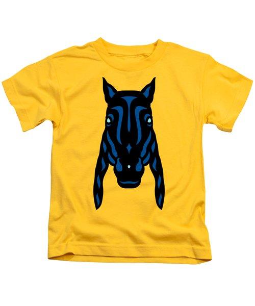 Horse Face Rick - Horse Pop Art - Primrose Yellow, Lapis Blue, Island Paradise Blue Kids T-Shirt
