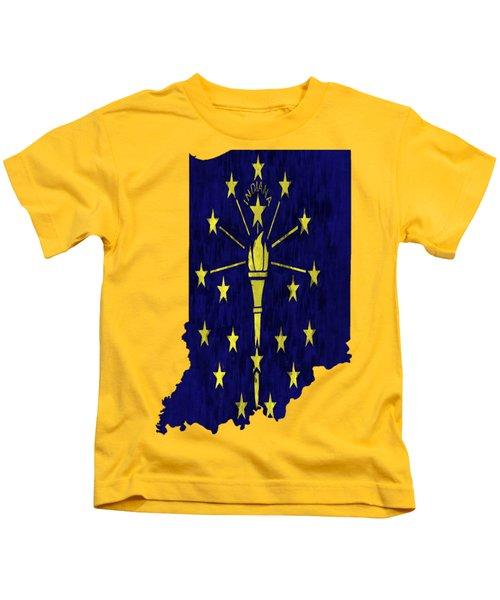 Indiana Map Art With Flag Design Kids T-Shirt