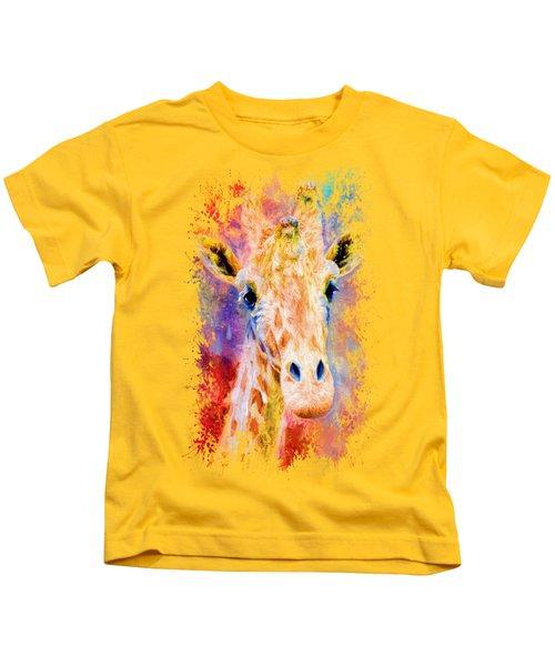 Jazzy Giraffe Colorful Animal Art By Jai Johnson Kids T-Shirt by Jai Johnson
