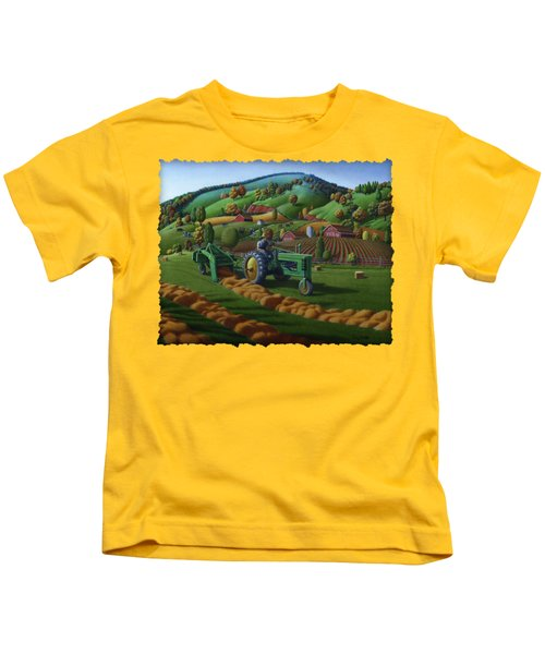 John Deere Tractor Baling Hay Farm Folk Art Landscape - Vintage - Americana Decor -  Painting Kids T-Shirt by Walt Curlee