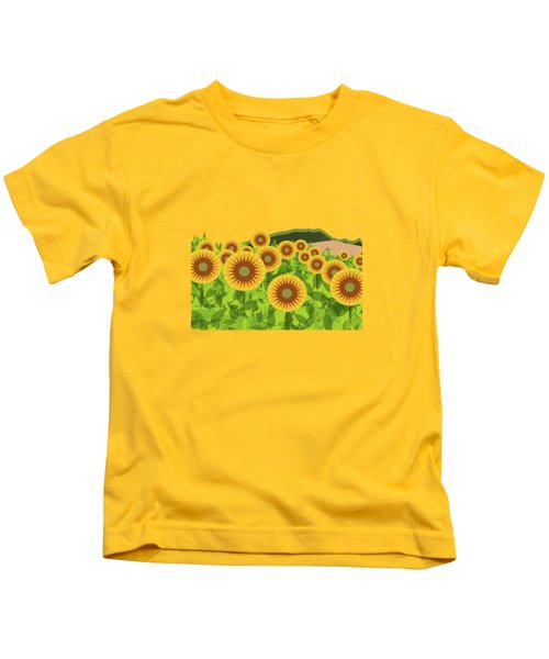 Land Of Sunflowers. Kids T-Shirt by Absentis Designs