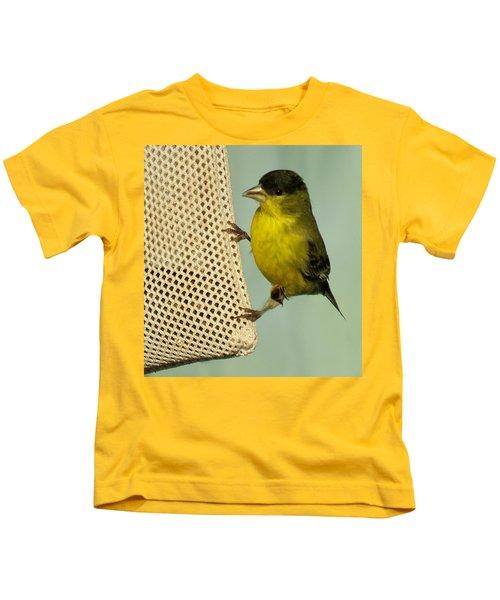 Male Goldfinch On Sock Feeder Kids T-Shirt