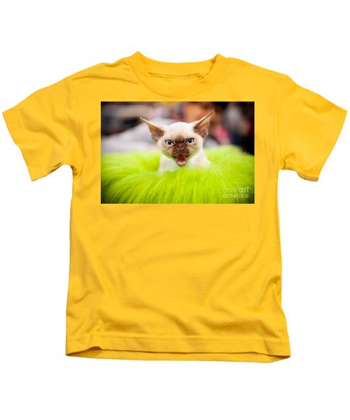 Mew Kitty Funny Mad Face Kids T-Shirt