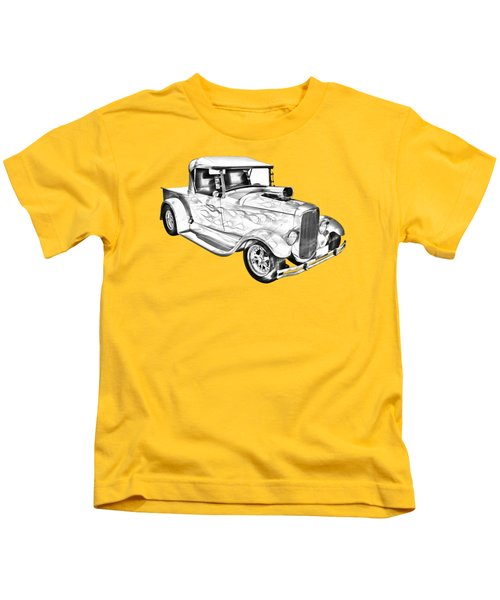 Model A Ford Pickup Hotrod Illustration Kids T-Shirt