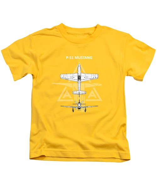 P-51 Mustang Kids T-Shirt by Mark Rogan