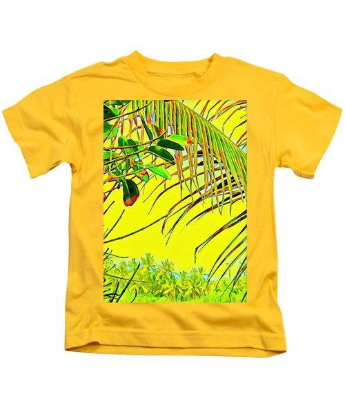 Palm Fragment In Yellow Kids T-Shirt