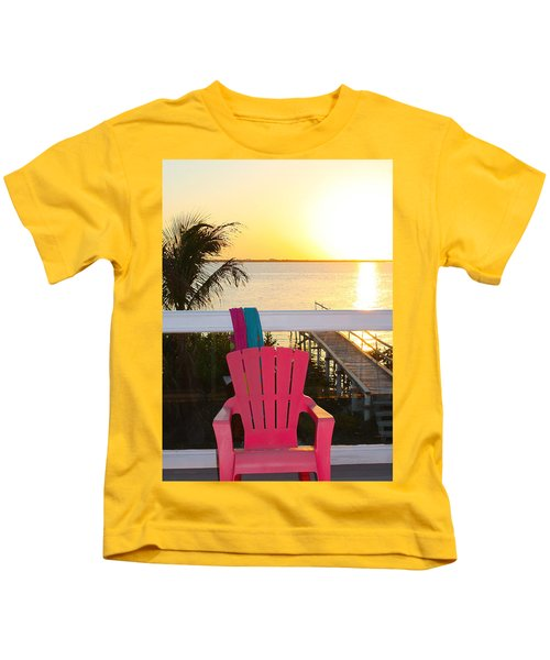 Pink Chair In The Keys Kids T-Shirt
