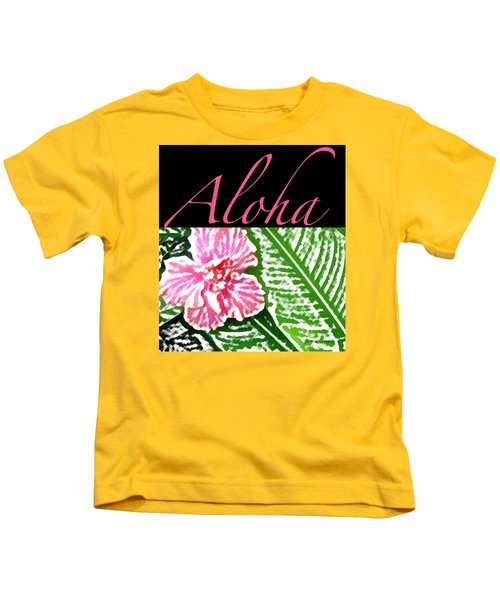 Pink Hibiscus Aloha Kids T-Shirt by James Temple