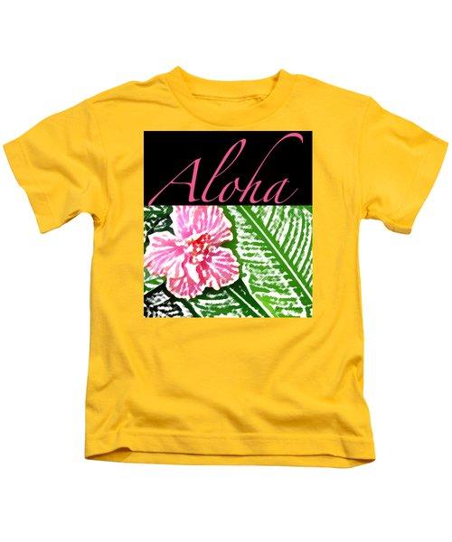 Pink Hibiscus Aloha Kids T-Shirt