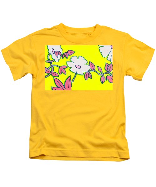 Purple Pointed Petals And Bright White Flowers Against Yellow Kids T-Shirt
