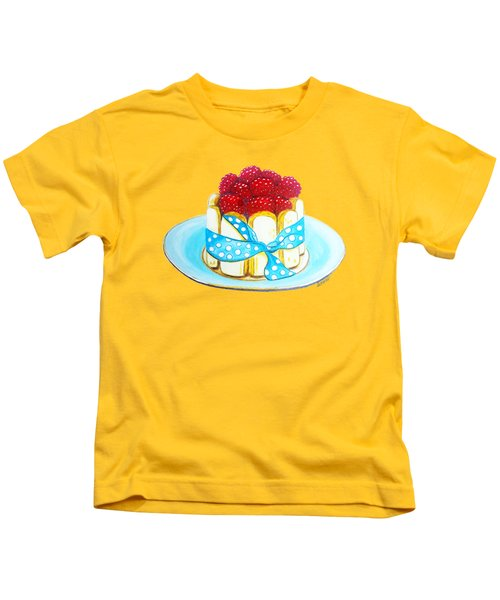 Raspberry Finger Biscuit Dessert Illustration Kids T-Shirt by Sonja Taljaard