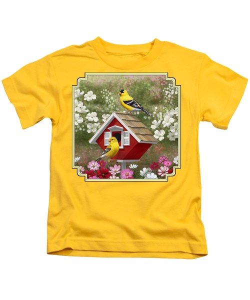 Red Birdhouse And Goldfinches Kids T-Shirt