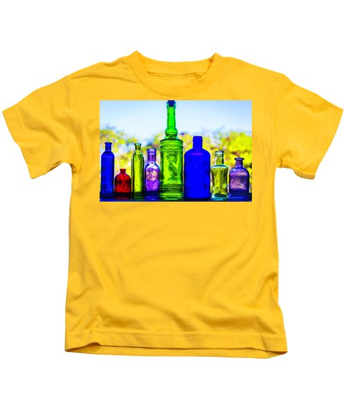 Row Of Colored Bottles Kids T-Shirt