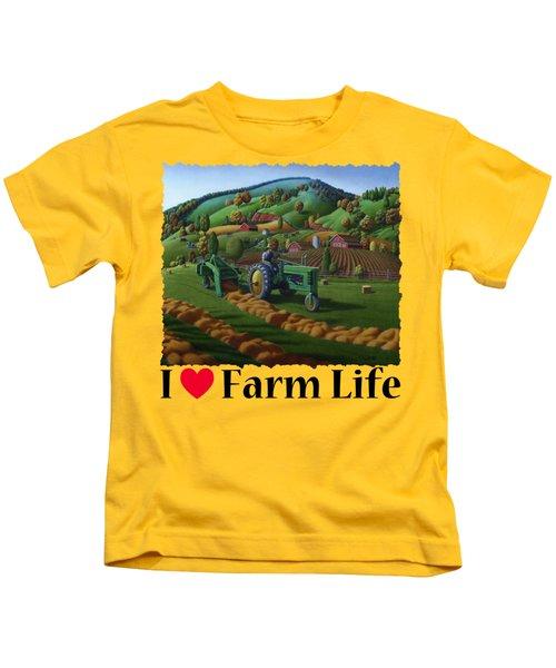 Rustic John Deere Farm Tractor Baling Hay - Rural Country Folk Art Landscape - Summer Americana Kids T-Shirt
