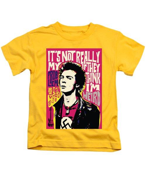 Sid Vicious Pop Art Quote Punk Portrait Kids T-Shirt