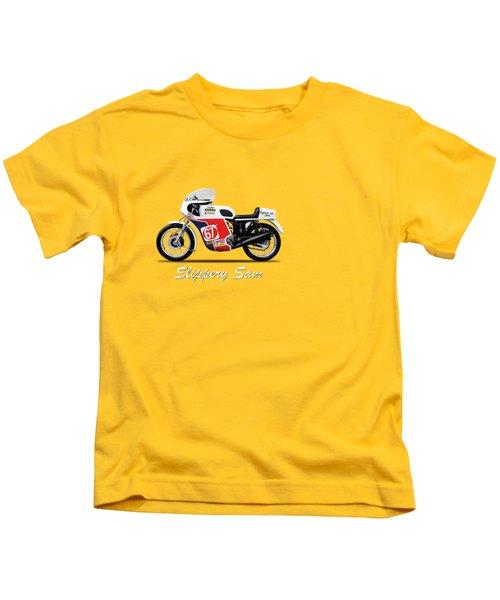 Slippery Sam Production Racer Kids T-Shirt by Mark Rogan