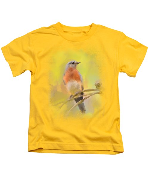Spring Bluebird Painting Kids T-Shirt by Jai Johnson