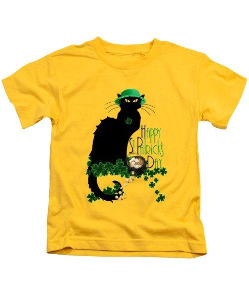 St Patrick's Day - Le Chat Noir Kids T-Shirt