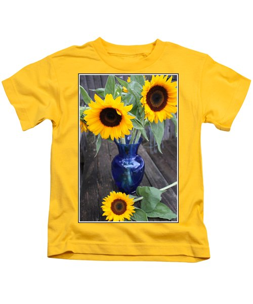 Sunflowers And Blue Vase - Still Life Kids T-Shirt