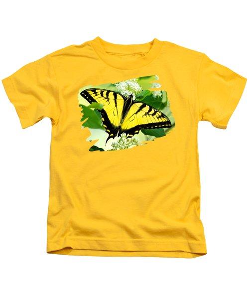 Swallowtail Butterfly Feeding On Flowers Kids T-Shirt