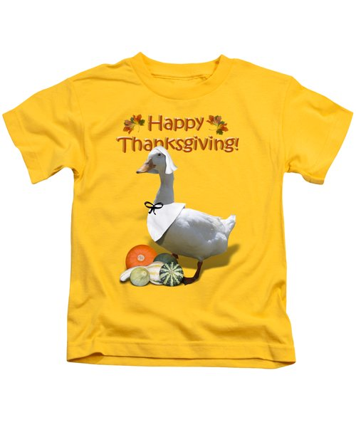 Thanksgiving Pilgrim Duck Kids T-Shirt by Gravityx9  Designs