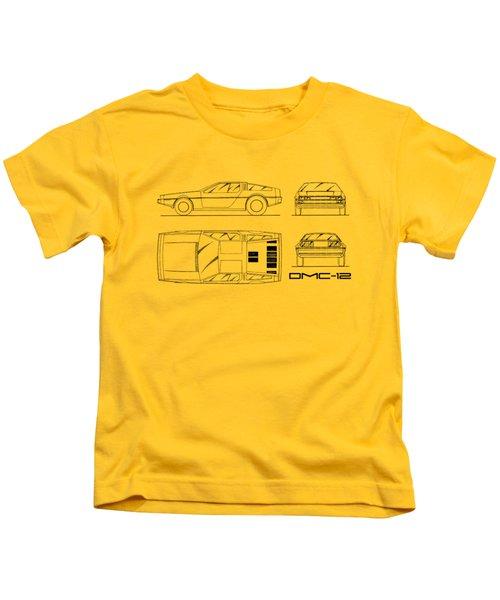 The Delorean Dmc-12 Blueprint - White Kids T-Shirt by Mark Rogan