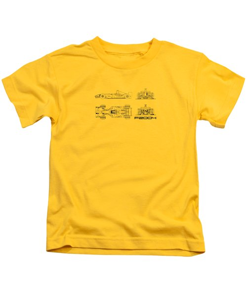 The F2004 Gp Blueprint - White Kids T-Shirt