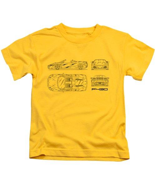 The F430 Blueprint - White Kids T-Shirt