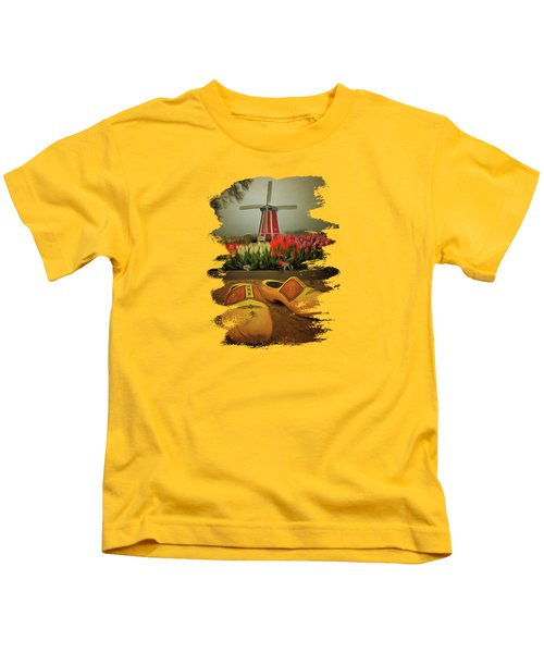 The Yellow Wooden Shoes Kids T-Shirt by Thom Zehrfeld