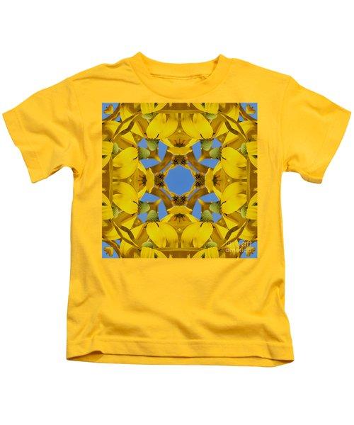 Yellow Coneflower Kaleidoscope Kids T-Shirt
