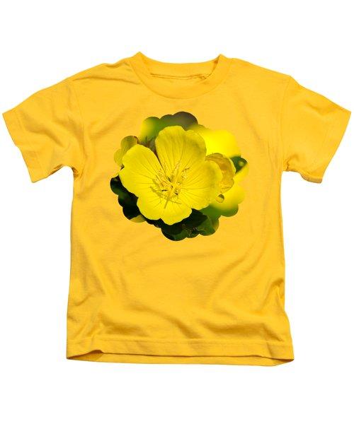 Yellow Flowers - Evening Primrose Kids T-Shirt by Christina Rollo