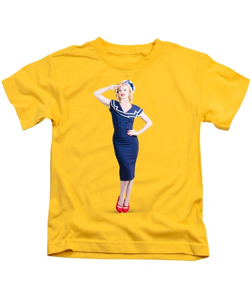 Young Retro Pinup Girl Wearing Sailor Uniform Kids T-Shirt