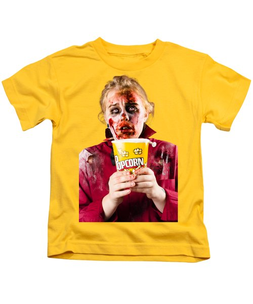 Zombie Woman Watching Scary Movie With Popcorn Kids T-Shirt
