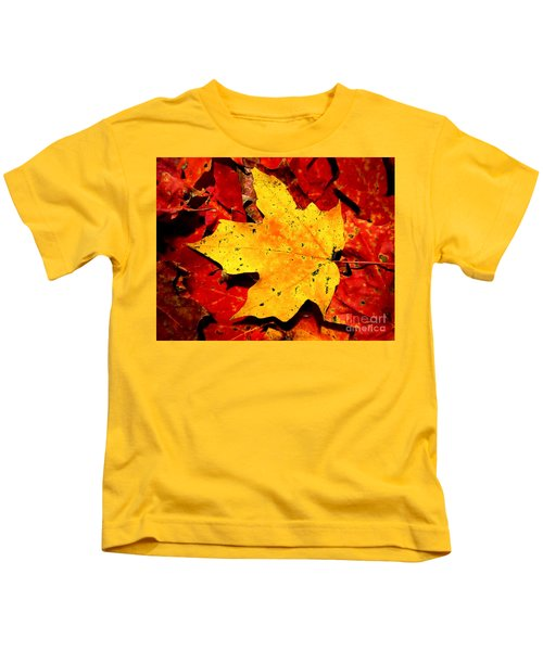 Autumn Beige Yellow Leaf On Red Leaves Kids T-Shirt