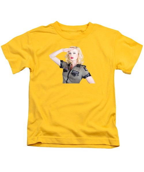 Beautiful Blond Woman In Military Outfit Kids T-Shirt