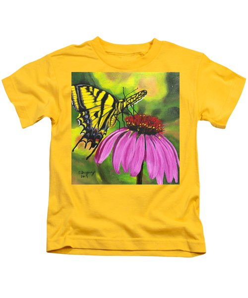 Black-sampson Echinacea Kids T-Shirt