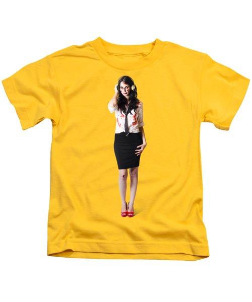 Creepy Female Zombie With Headphones Kids T-Shirt