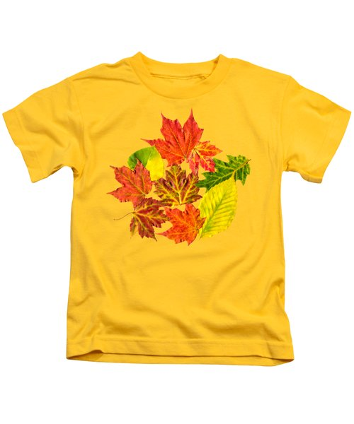 Fall Leaves Pattern Kids T-Shirt