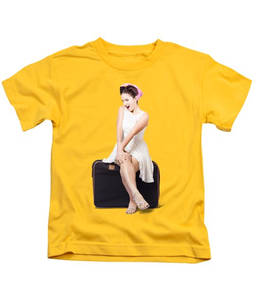Female Pinup Travelling Tourist Sitting On Luggage Kids T-Shirt