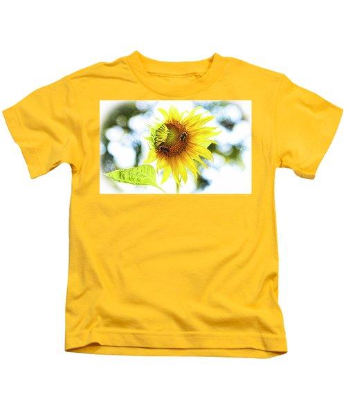 Honey Bees On Sunflower Kids T-Shirt