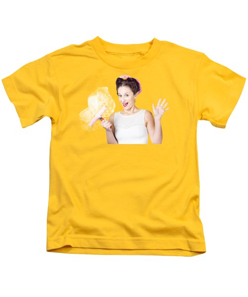 Hysterical Pin-up Woman Washing Windows On Yellow Kids T-Shirt
