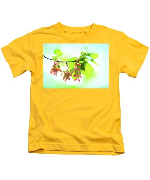 Impressionistic Maple Seeds And Foliage Kids T-Shirt