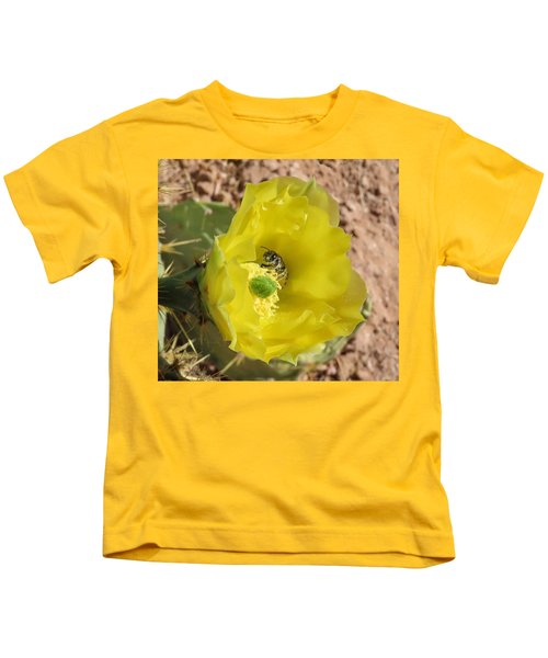 Kids T-Shirt featuring the photograph Leaf-cutter Bee Bathing In Gold by Judy Kennedy