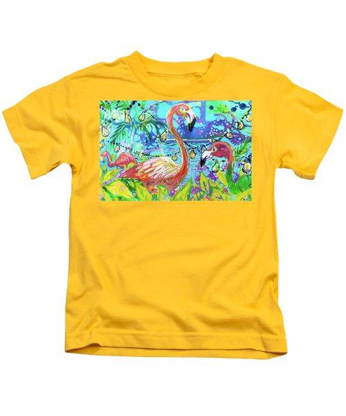 Outdoor Flamingo Party Kids T-Shirt