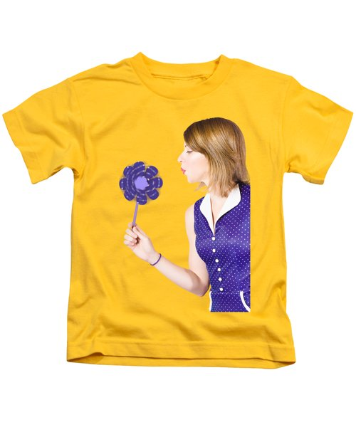 Pretty Pin Up Girl Playing With Purple Pinwheel Kids T-Shirt