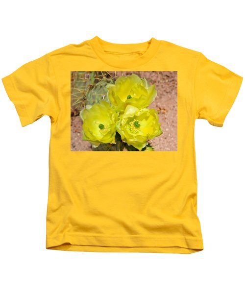 Kids T-Shirt featuring the photograph Prickly Pear Cactus Trio Bloom by Judy Kennedy