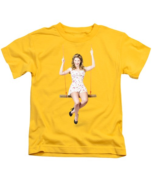 Swing Pinup Girl With Beauty Make-up And Hairstyle Kids T-Shirt