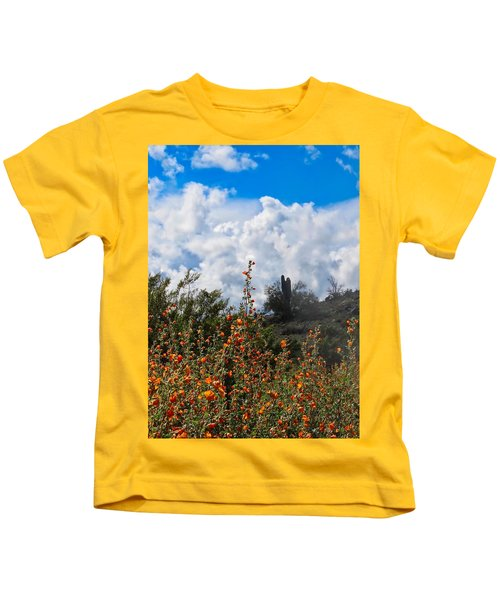 Kids T-Shirt featuring the photograph Under  A White Fluffy Cloud by Judy Kennedy