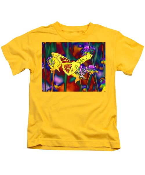 Yellow Monarch Butterfly Kids T-Shirt